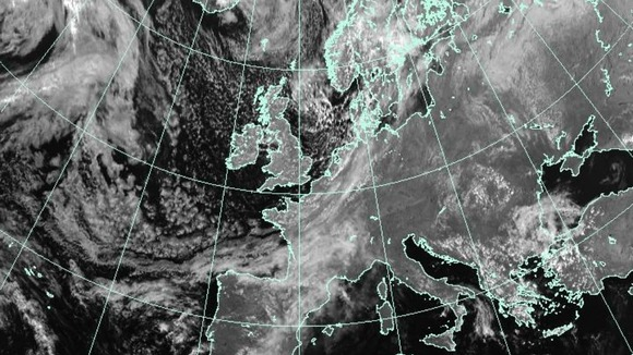 Satellite weather image of Europe