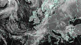 Satellite weather image of Europe