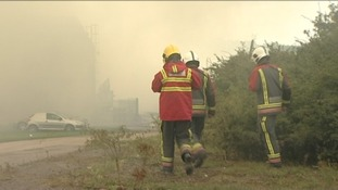 Derbyshire firefighters are still onsite tackling the woodyard fire