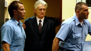 Karadzic enters the court room of the International Criminal Tribunal in 2008.