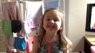 Three year old Lydia Bishop
