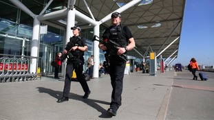 Armed police on patrol at Stansted Airport on Wednesday.