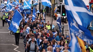 Members of the public take part in a pro-independence march in Glasgow from Kelvingrove Oark to Glasgow Green.