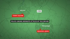 The assaults took place in Stevenage and Hitchin.