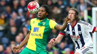 Dieumerci Mbokani in action for Norwich City.