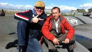 Broadcaster and petrol head Chris Evans with ITV Central's Peter Bearne