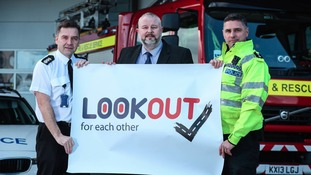 County Durham and Darlington Fire and Rescue: Andrew Allison, Chairman of Road Safety GB North East Paul Watson, and Inspector Mick Jackson