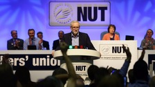 Jeremy Corbyn greeted with a standing ovation at the NUT's conference