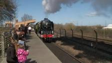 Tornado steam train arrives