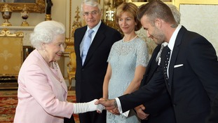 Queen Elizabeth II meets David Beckham