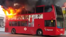 Double decker bud bursts into flames in south London.