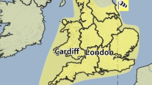 The area covered by the yellow weather warning on Easter Saturday.