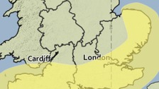 Area affected by the yellow weather warning for strong winds on Easter Monday.
