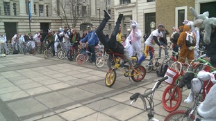 Easter bunnies riding BMX bikes spotted riding through  the capital's streets.