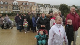 Queues formed before the doors opened in Seaton