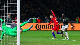 Jamie Vardy scores for England