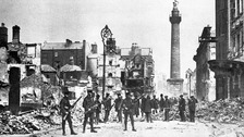 A Dublin street destroyed by fighting between Republicans and the British during the 1916 Easter Rising