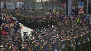 Irish Defence Force march through Dublin