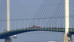The Queen Elizabeth bridge across the River Thames between Essex and Kent is closed due to high winds.