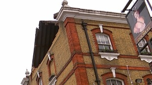 The damage caused to the roof of the pub