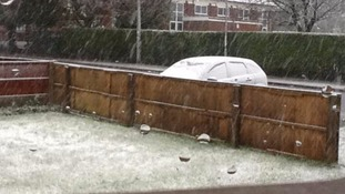 This photograph captured snow falling in Brownhills