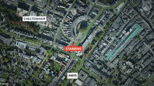 A manhunt has been launched after a passenger on a London-bound Megabus was knifed in Cheltenham