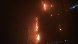 Huge fire breaks out at skyscraper in United Arab Emirates