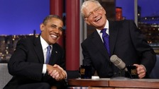 "President Barack Obama's appearance on appearance on the ""Late Show with David Letterman"""