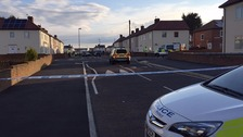 Police at the scene in Frenchman's Way, South Shields.