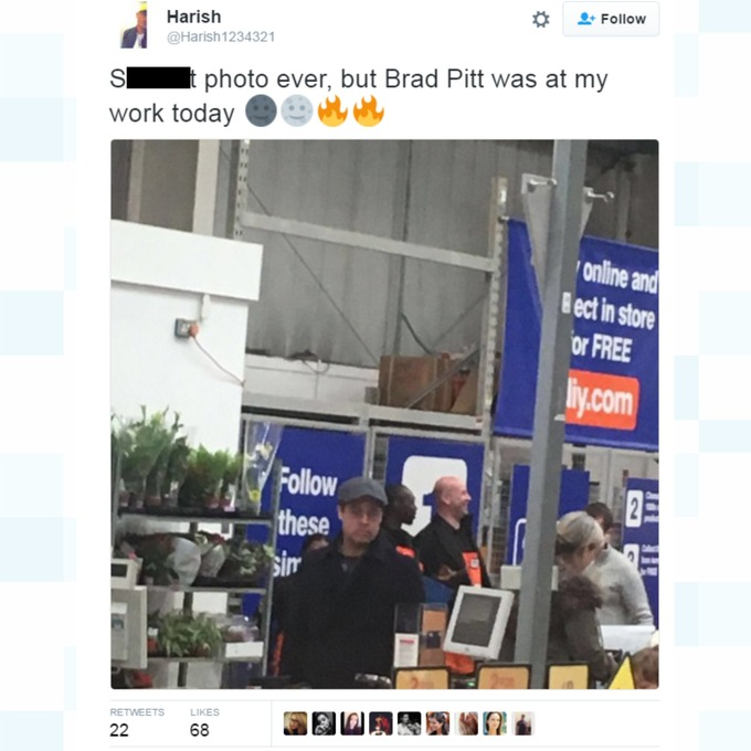 Brad Pitt was photographed by a worker at the B&Q store