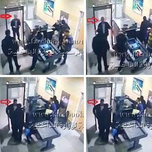 These CCTV images appear to show Mustafa going through airport security in Egypt