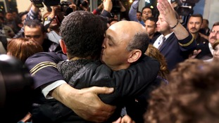 There were emotional scenes at Cairo International Airport.