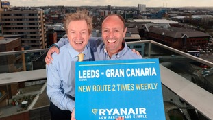 Tony Hallwood and Kenny Jacobs announcing the introduction of Gran Canaria  -  a new Winter route to Leeds Bradford by Ryanair