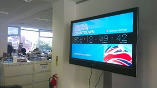 A countdown clock to the next General Election has been installed at the Conservative Party's headquarters
