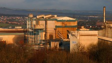 Dusk falls over the Tata Steel LPB, Thrybergh Mill, Rotherham