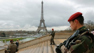 French army paratroopers seen on the streets of Paris as France boosts security in the wake of the attacks on Brussels.