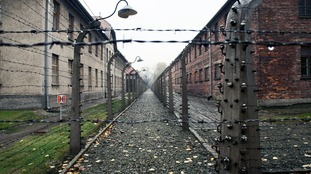 Barbed wire surrounding Auschwitz concentation camp in Poland