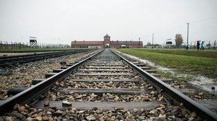 The train tracks leading to Auschwitz concentration camp