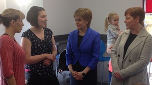 The SNP leader is on the campaign trail in southern Scotland.