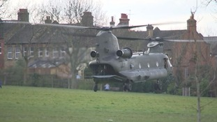 The RAF Chinook landed on Ruskin Park