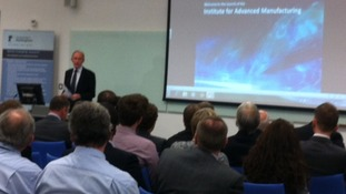 Prof David Greenaway of Nottingham University at the opening of the Institute for Advanced Manufacturing