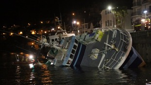 Capsized trawler to be lifted out of Dartmouth Harbour by salvage vessel later today