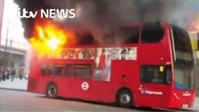 The top deck of the 208 bus was set on fire