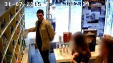 Austin Caballero was captured on CCTV stealing beauty cream