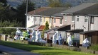 Forensic officers at the scene close to where police constables Fiona Bone, 32, and Nicola Hughes, 23, where killed in Hattersley