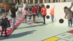 Giant Monopoly board appears in Trafalgar Square to celebrate the London Games Festival