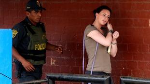Michaella McCollum arriving in court at Sarita Colonia prison in Callao in December, 2013.