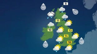 England and Wales will see sunshine in most areas, rain and cloudy skies for Scotland and Northern Ireland.
