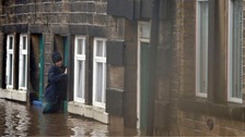 Flooded streets in Mytholmroyd in Calderdale