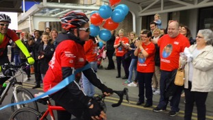 Charlie's triumphant ride raises £10,000 in memory of little brother